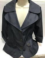Tribal Stretch Dark Denim Look Women's Blazer Button Jacket Size 8 EUC