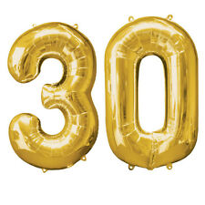 Extra Large Gold 30th Birthday Foil Balloon Party Decorations Age 30 numbers