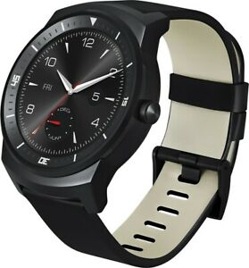 LG G Android Watch R 46mm Stainless Steel Case Black Silicone Band (LG-W110)