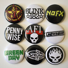 1990s Punk Bands Badges Buttons Pin Set Lot x 9 One Inch 25mm Music 90s