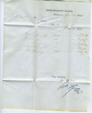 1840 Letterhead Mechants Bank Baltimore Stampless Cover