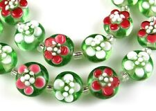 HANDMADE LAMPWORK GLASS BEADS Pink White Green Petal Flower Loose Craft Spacer