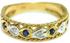 Blue Sapphire & Diamond 9ct 375 Solid Gold Antique Style Ring - 30 Day Returns