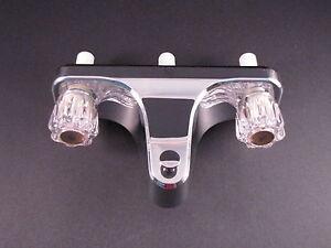 """Mobile Home RV Tub/Shower Faucet. 2 Valve Diverter. Chrome. 8"""" on center valves"""