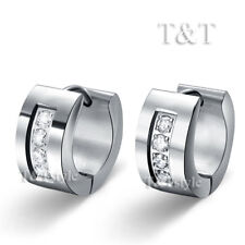 TRENDY TT Stainless Steel Thick Hoop Earrings With CZ (EP50)