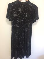Oasis Black and Silver Sparkly Stars Stretch Short Sleeved Dress UK M