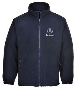 Embroidered Scotland Thistle Full Zip Navy Fleece - Mens & Ladies, GIFT IDEA