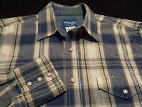 Wrangler Mens Medium Long Sleeve Pearl Snap Multicolor Plaid Check Western Shirt