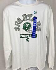 MSU Hanes  Michigan State Spartans White Athletic Shirt NCAA Long Sleeve 42/44