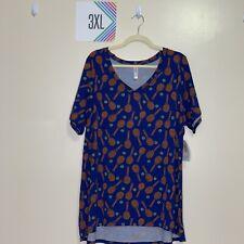 Lularoe 3Xl Christy T Shirt Blue With Tennis Rackets and balls