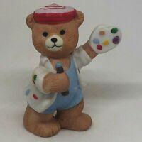 Vintage BC Bronson Teddy Bear Figurine Porcelain Bisque Art Painter Pallet