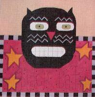 JG Black Cat Halloween Picture HP Handpainted Needlepoint Canvas