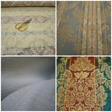 Damask Brocade Floral Fish Scale Upholstery Fabric Gold Red Blue Beige Burgundy