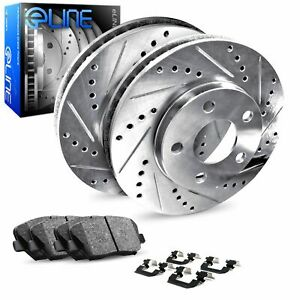 For 1984-1986 Ford Mustang Rear Drilled Slotted Brake Rotors + Ceramic Pads