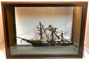 "Large Antique Folk Art Model Ship Diorama For Restoration, Victorian, 26""x18""x9"""