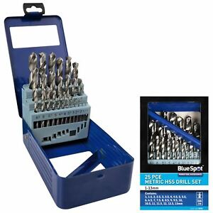 BlueSpot Metal HSS Metric 25pc Drill Bits Set 1mm to 13mm for Steel Metal Wood