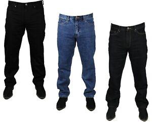 Mens Denim Straight Fit Jeans Farah 5 Pockets in Black Indigo Blue Colours 30-46