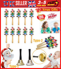 More details for christmas hand jingle bells handle celebrate festive instrument musical toy xmas