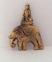 BUDDHA ELEFANT Statuette Figur Amulett Messing thailändisch Thailand b175
