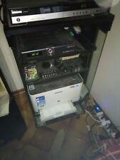 Mobiletto TV HiFi 50 x 100 x 45 cm legno vetro 5 ripiani senza antina, schienale