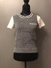 New J Crew Black White Tweed Sweater Top Blouse XS