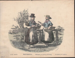 BUTTER SELLERS * COLOURED  LITHOGRAPH from 1850ies *