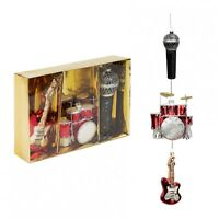 Widdop Bingham Set of 3 Music Themed Glass Baubles - Christmas Tree Decorations