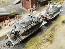 HO Roco Minitanks Artitec 1st Panzer Two Railway Cars #A1050 Hand Painted