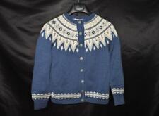 Vintage O. Allers Norway S Blue Cream Wool Cardigan Sweater Fair Isle Nordic Sm