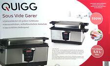 Quigg Sous Vide Garer 550 Watt 5,5l Bedienpanel Sichtfernster Überhitzungsschutz
