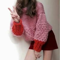 Womens New Fashion Two Tone Pullover Loose Handmade Knitted Sweater Cardigan SKG