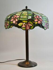 Antique Leaded Slag Glass Table Lamp Floral Pattern