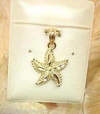 13.5mm Hawaiian 14k Yellow Gold Diamond-Cut DC Textured Pe`a Starfish Pendant