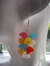 Drop / Dangle Earrings - Multi-coloured Summer Tropical Flowers