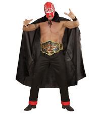 New Adult Red WWE Wrestling Wrestler Mask, Belt Cape Fancy Dress Set Accessories