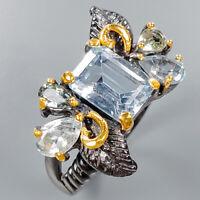 Blue Topaz Ring Silver 925 Sterling Jewelry Fine Art Size 9 /R135236