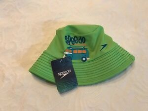 NEW Speedo Babys Green Sun Hat UV50 Block The Burn S/M VW With Chin Strap