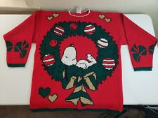 Clothing, Shoes & Accessories Vintage Snoopy Mens Vest Medium Huge Graphic Peanuts Charlie Brown 80s Knit