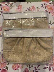 2 MARY KAY MAKEUP BAG Rare Unique Tan Mesh Quality Purse Beauty Accessories