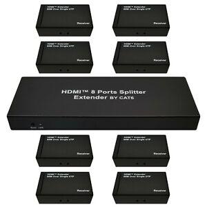 1x8 HDMI 8-Port Splitter Extender Kit over RJ45 CAT5e CAT6 Ethernet LAN Cable