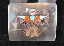 ZUNI NATIVE AMERICAN INLAY THUNDERBIRD STERLING SILVER BELT BUCKLE DEAD PAWN