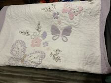 Pottery Barn Kids Twin Blanket Quilt Pink Floral Pattern Butterflies