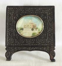 More details for antique 19th c indian miniature painting of taj mahal in carved wooden frame