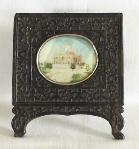 ANTIQUE 19TH C INDIAN MINIATURE PAINTING OF TAJ MAHAL IN CARVED WOODEN FRAME