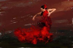 Flamenco Dancer original painting in acrylic. By Brian Tones