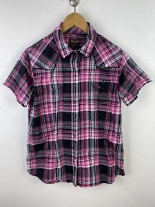 Wrangler Womens Shirt Size 14 Short Sleeve Button Up Pearl Snap Pink Plaid