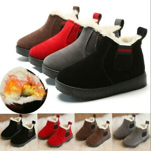 KIDS BOYS GIRLS WINTER FUR COMFORT WARM WINTER SLIPPERS SHOES TODDLER BOOTS SIZE