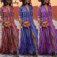 Women's Boho Sundress Long Maxi Dress Evening Cocktail Party Beach Dresses