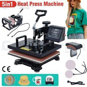 5 IN 1 Heat Press Machine Sublimation Transfer Cap Plate Mug T-Shirt Printing AU