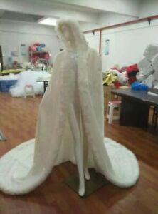 Christma Winter Long Bridal Faux Fur Cloak Hooded Wedding Hooded Warm Cape Ivory
